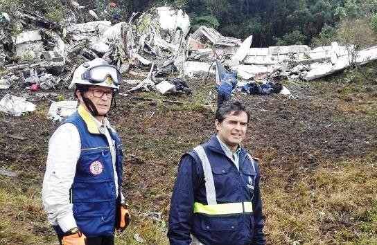 SNGRD en la zona del siniestro aéreo donde perecieron los jugadores del Chapecoense