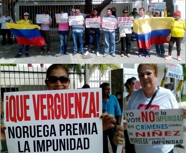 En Barranquilla, protestan por el Nobel de Paz a Santos. Dicen sentir Vergüenza de Noruega