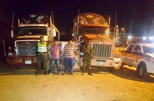 Dos conductores de tractomulas capturados en Albania la Guajira