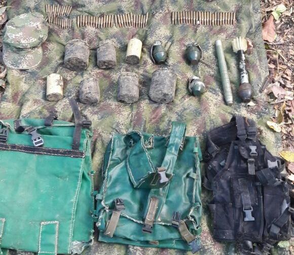 Décima Brigada Blindada y la SIJIN, encontraron y destruyeron deposito ilegal de explosivos del ELN en el Cesar