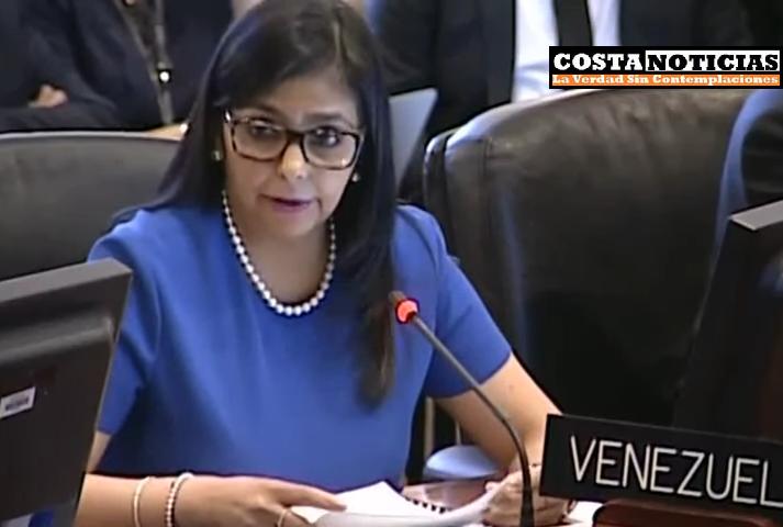Canciller de Venezuela irrumpe con altanería y acusaciones contra la OEA, desconoce legalidad de la sesión.