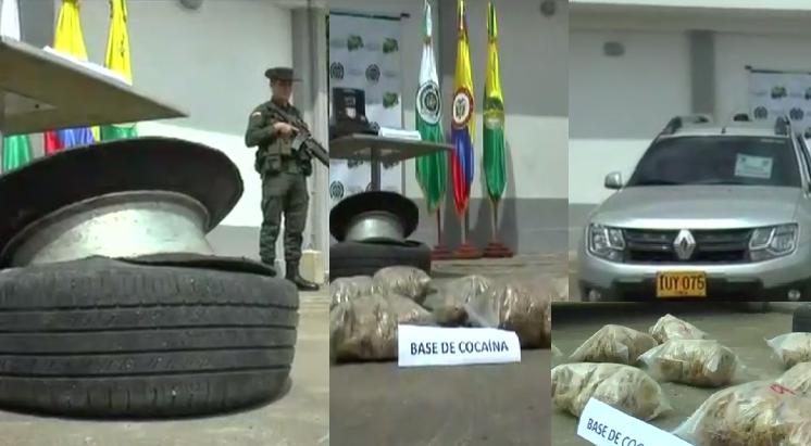 Autoridades incautan cocaína avaluada en 168 millones de pesos en las llantas de un vehículo de la Unidad de Protección