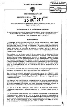 Gobierno designó como gobernador ad-hoc de Nariño, al Director del DPS, Nemesio Roys Garzón