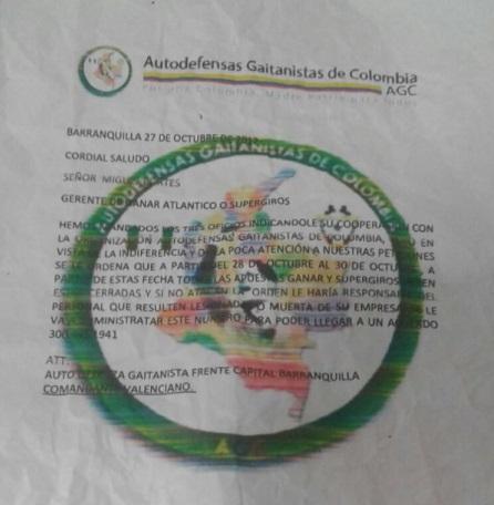 Autoridades investigan en Atlántico presunto panfleto amenazante de Autodefensas Gaitanistas contra las Apuestas Ganar de Supergiros