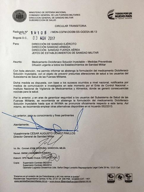 Fuerzas Militares alertan a las Jefaturas de Sanidad Militar abstenerse de recetar Diclofenaco Inyectable
