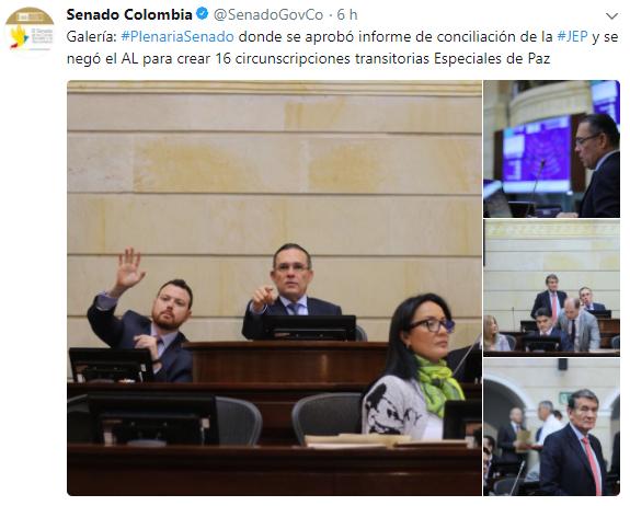 Senado reconoce que el informe de conciliación de 16 Circunscripciones se hundió. Sin embargo estudia la solicitud del Gobierno