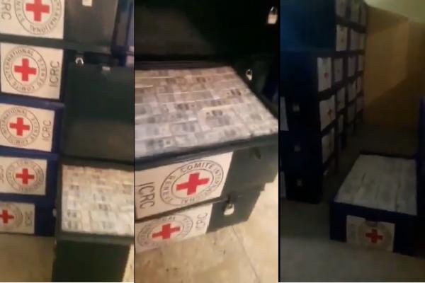 Aunque el video de baúles con millones de dólares es un hecho real, Cruz Roja condena que se haya usado el logo de la entidad