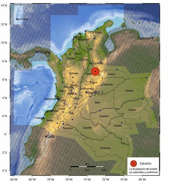 Temblor de 5.5 puntos muy fuerte y prolongado este lunes en La Mesa de los Santos, Santander