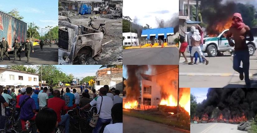 36 capturados después de varios días de protestas en Urabá, 9 policías heridos, 8 vehículos quemados, alcaldes fuera de sus municipios