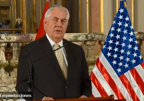 Preocupación de USA en visita de Tillerson: Seguridad, la lucha contra las drogas, la corrupción, la institucionalidad y la democracia no solo en Venezuela