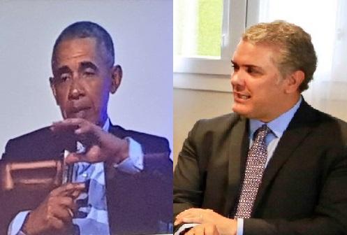Duque se reunió en España con Barack Obama. Lo consideró importante y lo reseñó en tuitter