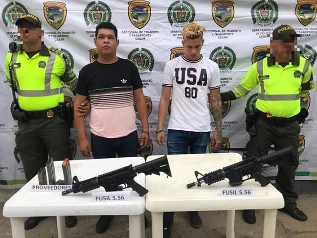 Caen tres venezolanos con poderoso armamento: Dos en Valledupar cuando se dirigían a Barranquilla con dos fusiles de asalto. En Rebolo, cayó otro con una subametralladora y una granada