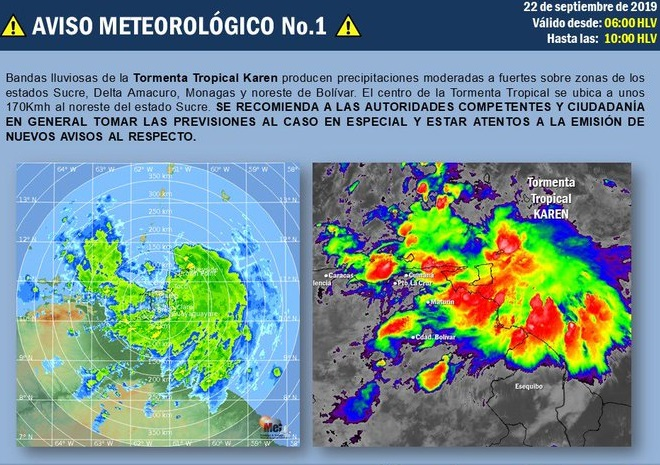 Onda tropical Karen convertida en tormenta azota a 7 estados venezolanos. Alerta durante las próximas 48 horas
