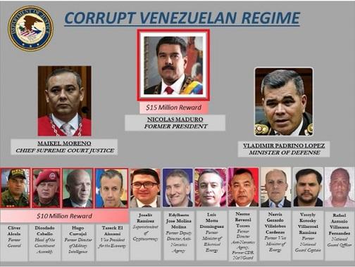 Estados Unidos ofrece 15 millones de dólares por la cabeza de Nicolás Maduro, 10 por la de Diosdado Cabello, por Vladimir Padrino López, Tareck El Aissami, Michael Moreno y el Pollo Carvajal también hay recompensas