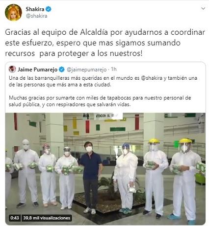 Shakira se unió a la campaña Soy solidario, soy Barranquilla, con implementos y equipos para el sector salud