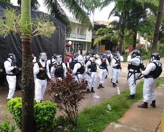 Se aumenta el pie de fuerza en zona fronteriza con Brasil, uniformados del Ejército, Armada y Policía combaten contra el Covid-19