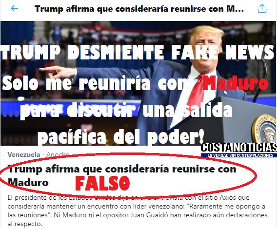 Trump desmiente Fake News sobre Juan Guaidó: Solo me reuniría con Maduro para discutir una salida pacífica del poder!