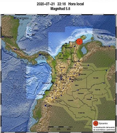 Temblor de magnitud 5.4 con epicentro en Albania, Guajira, sacudió el norte del país. Ya son varios los sismos por encima de los 5. este mes de julio