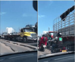 Continúan las protestas de Transportadores de carga en Cartagena ante cobrops ilegales en peajes internos