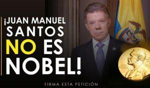 Recogen firmas para solicitar el retiro del Premio Nobel de Paz, al falso nobel Juan Manuel Santos, acusado por corrupción. Y quien además robó a los colombianos que rechazaron el falso Acuerdo con las Farc